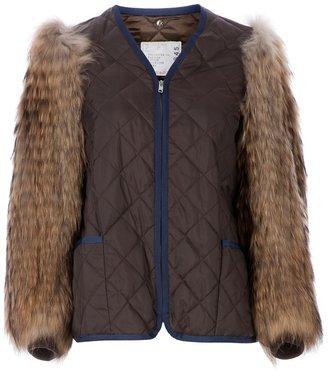 Sacai raccoon sleeve quilted jacket
