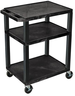 Luxor Mobile Black Multi-Purpose 3 Shelf Tuffy AV Cart / Electric/ Heavy Duty Casters
