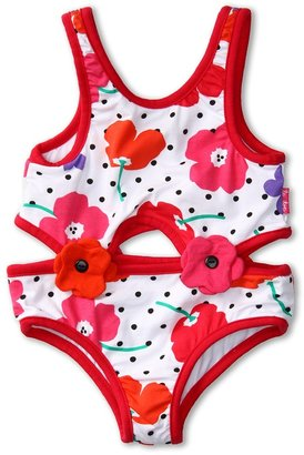 Le Top Girls' Field of Poppies One Piece Cut-Out Tankini (Toddler/Little Kids) (White) - Apparel