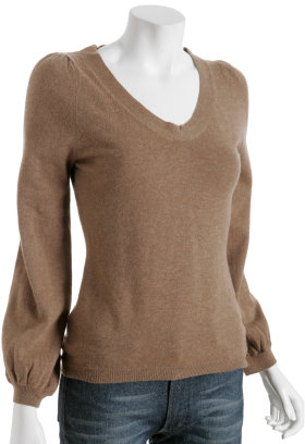Tocca camel virgin wool v-neck sweater