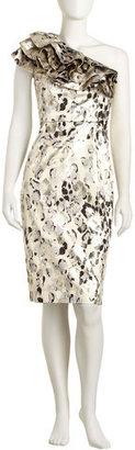 Carolina Herrera Cheetah-print Lame Cocktail Dress