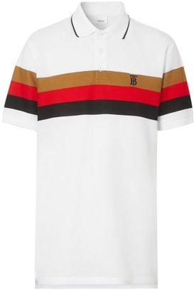 Burberry Monogram Motif Striped Cotton Polo Shirt
