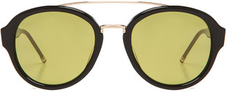 Thom Browne Yellow Rounded Oversized Aviator in Black & 18K Gold