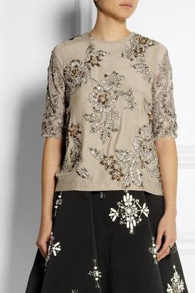Biyan Jane embellished silk-blend top