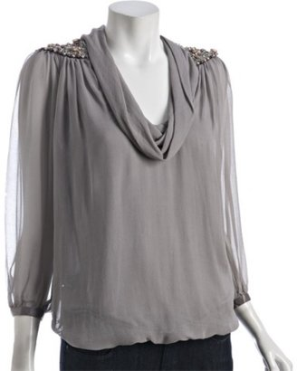 Hannah Joe smoke silk chiffon cowl neck beaded shoulder blouse