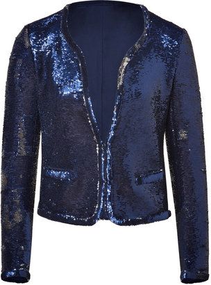 Maje Brilliant Blue Sequined Jacket