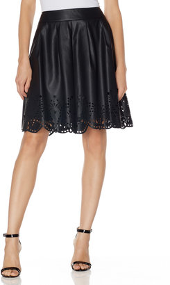 The Limited Laser Cut Faux Leather Skirt