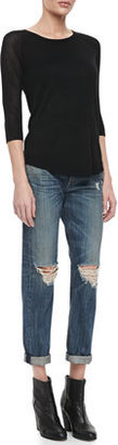 Rag and Bone Boyfriend Buckley Ripped-Knee Jeans