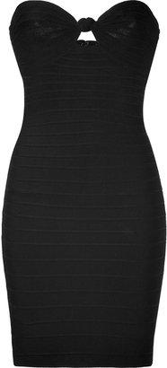 Herve Leger Black Strapless Bandage Dress