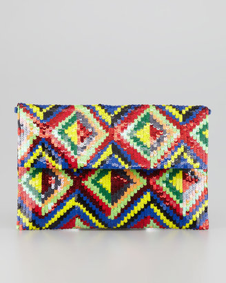 Moyna Sequined Flap-Top Clutch Bag