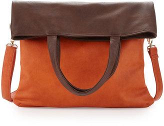 Neiman Marcus Colorblock Fold-Over Tote Bag, Orange/Brown