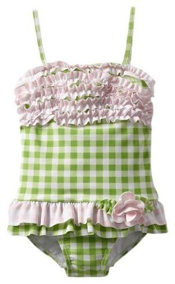 Hartstrings Ruffled 1-pc Bathing Suit - Green Check- 6X