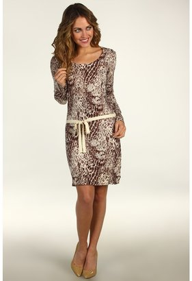 Calvin Klein Jeans Snakeskin Print Sweater Dress (Pale Grey Heather) - Apparel