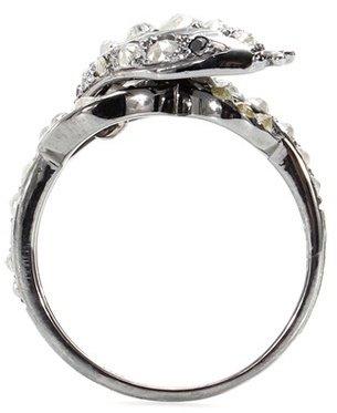 Ileana Makri Whispered Snake 18kt Oxidized White Gold Ring With Rose Cut Coated Grey And Black Diamonds