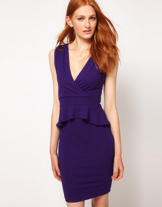 Warehouse V Detail Peplum Dress