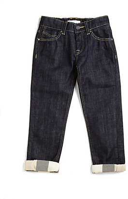 Burberry Little Girl's Check-Cuffed Jeans