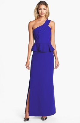 Laundry by Shelli Segal One-Shoulder Peplum Gown