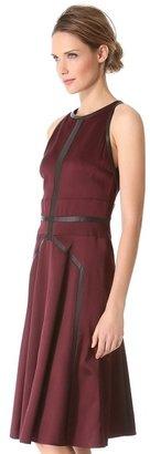 J. Mendel Jacquard Dress with Leather Trim