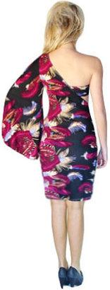 Caprice Venni Kyler Feather One Shoulder Dress w/ Bandeau