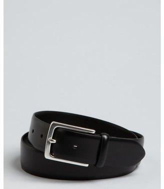 John Varvatos black leather ridged buckle belt