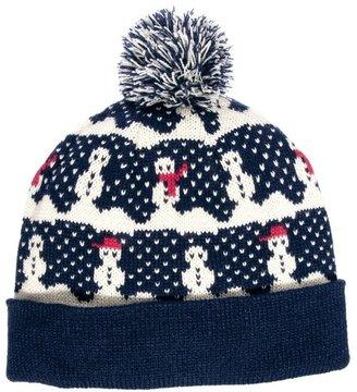 Asos Bobble Beanie Hat with Snowman Design - Blue
