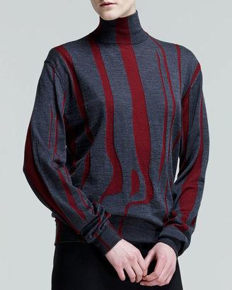 Jil Sander Bicolor Mock-Neck Intarsia Top, Bordeaux/Slate