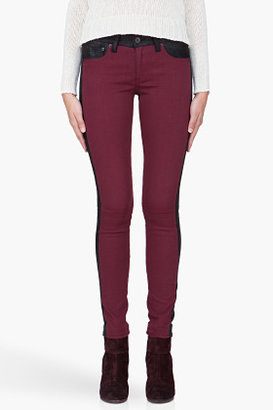 Rag and Bone RAG & BONE Burgundy Combo Leather Back Jeans