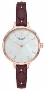 Kate Spade Metro Quilted Stainless Steel Leather-Strap Watch