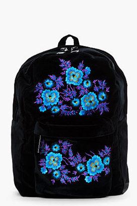 Christopher Kane Blue floral Embroided Velvet Backpack