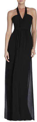 BCBGMAXAZRIA Starr Deep V-Neck Silk Halter Dress