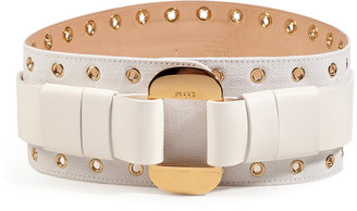 Emilio Pucci Canvas/Leather Belt in White