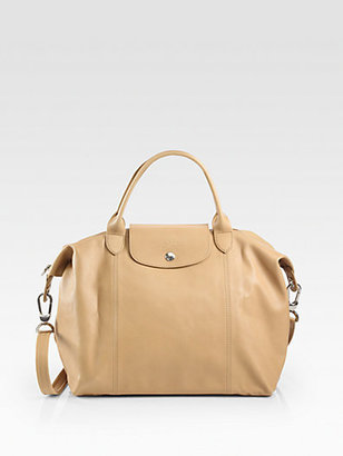 Longchamp Le Plaige Cuir Medium Top-Handle Bag