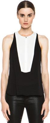 A.L.C. Colin Silk Crepe Georgette Top in Black & White