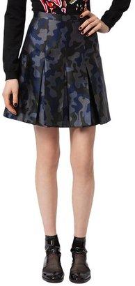 Christopher Kane Camo Print Box Pleated Skirt