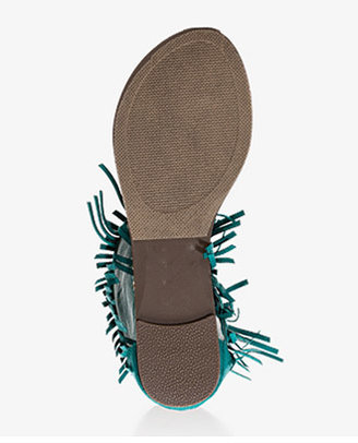Forever 21 Faux Suede Fringe Thong Sandals