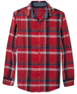 Sean John Big & Tall Shirt, Long Sleeve Twill Check Shirt