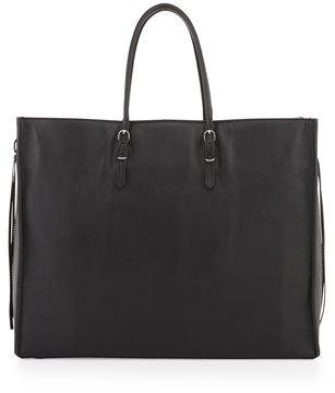 Balenciaga Papier A4 Side Zip Leather Tote Bag, Noir