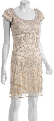 Sue Wong blush sequined scoop neck cap sleeve dress