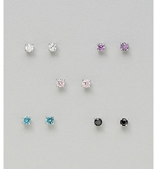 21st and Stone Five Pair Silver Plated Cubic Zirconia 3mm Round Stud Earrings: Clear, Pink, Aqua, Amethyst & Jet