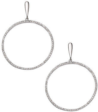 Tang & Song Sterling Silver and Pave CZ Drop Hoop Earrings