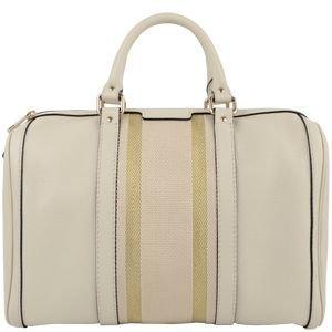 Gucci Cream Leather Web Boston Bag