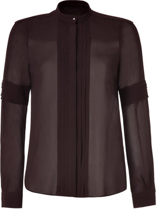 Belstaff Cordovan Brown Silk Pleated Richmond Shirt