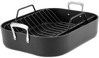 """All-Clad Hard Anodized Nonstick 16"""" x 13"""" Roaster with Roasting Rack"""