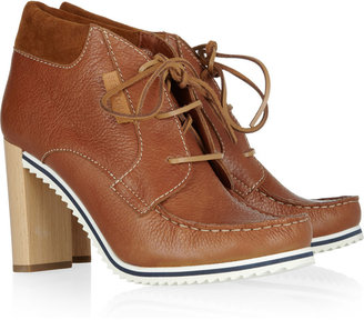 See by Chloe Wooden-heeled leather ankle boots
