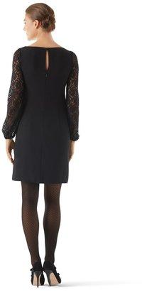 White House Black Market Lace Sleeve Crepe Dress