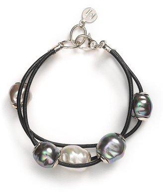 Majorica Three-Strand Leather Bracelet