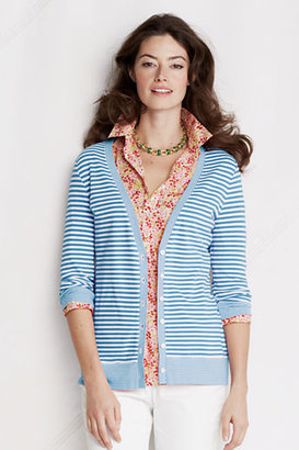 Lands' End Women's Regular 3/4-sleeve Stripe Cotton Modal Pique Cardigan