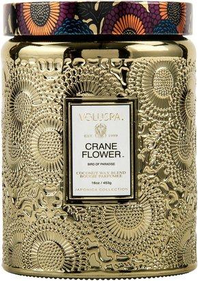 Voluspa Japonica Crane Flower Large Embossed Glass Jar Candle