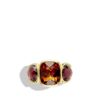 David Yurman Mosaic Three-Stone Ring with Madeira Citrine and Rhodolite Garnet in Gold