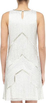 Adrianna Papell Beaded Halter Cocktail Dress, Ivory/Silver